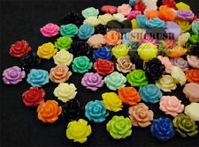 FREE SHIPPING--40pcs 10mm Tiny Resin Open Roses FLOWER Flat Back Cabochons F1367