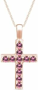 """Round Pink Tourmaline Cross Pendant Necklace 14K Rose Gold Over Sterling 18"""""""