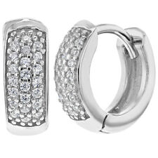 Rhodium Plated Clear CZ Pave Wide Hoop Huggie Women's Earrings 0.51""