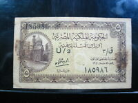 EGYPT 5 PIASTRES 1940s U/3 P164 EGYPTIAN Ex TAPE 4# BANK CURRENCY BANKNOTE MONEY