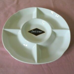 CERAMIC JACOB'S CRACKERS HOR D'OEUVRES DIVIDED SERVING DISH / PLATTER