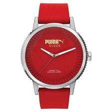 Puma Time Suede Orologio da polso Analogico Uomo Cinturino in Silicone Rosso