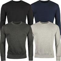 New Mens Work Jumper Crew Neck Pull Over Plain Jersey Sweater Top Sweatshirt