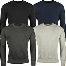 New Mens Work Jumper Crew Neck Pull Over Plain Jersey Sweater Top Sweatshirt