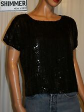 Vtg 80s Women's Top~Shimmer Ny Black 100% Silk Sewn Sequins Short Sleeve Tunic
