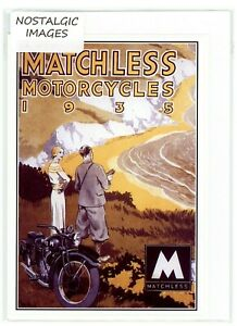 Nostalgic 1935 Matchless Motorcycles greeting card. Hand made, blank inside