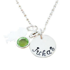 Personalized Jewelry - Hand Stamped Mommy Necklace - Round Name with Boy Charm