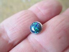 7mm Navy Green Lab Opal Micro Dermal TOP Body Jewelry 14g (1.6mm)