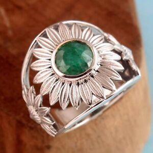 Sakota Mine Emerald Gemstone 925 sterling Silver Jewelry Solid Ring Size US 7.5