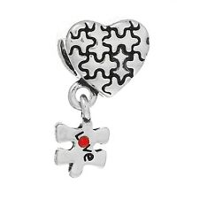 Autism Awareness Jigsaw Puzzle Piece Heart Love Dangle Bead fits Charm Bracelets