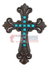 Teal Turquoise Fleur De Lis Cast Iron Decorative Wall Cross Rustic Brown Decor