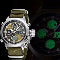 Digital Quartz Nylon Canvas Sport Men Military Army Green Analog Wrist Watch