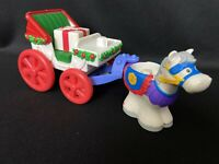 Fisher Price Little People Christmas Holiday Horse & Carriage With Present