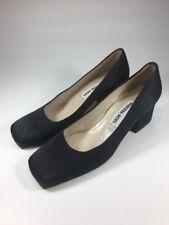 f8f3c5c2a394 Vanessa Noel  495 Nearly New Black Satin Block Heels Shoes Womens Size 5 M  EU35