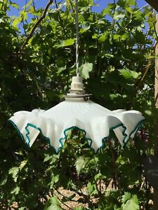 Lovely VTG French Pretty Milk/Opaline Glass Frilly Green Edge Pendant Shade VGC