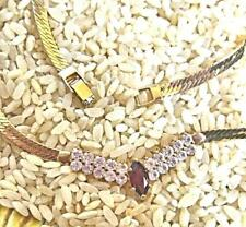 Gold Tone Sleek Chain Necklace with Crystals and Faux Ruby Korea 18""