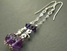 Amethyst Gemstones & Swarovski Crystal, Tibetan Dragonfly & 925 Silver Earrings