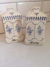 Antique Cobalt German Ceramic Canister Set Labeled Barley & Rice White/Roses