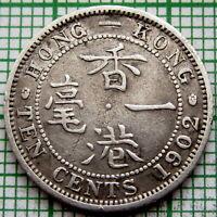 HONG KONG EDWARD VII 1902 10 CENTS, SILVER
