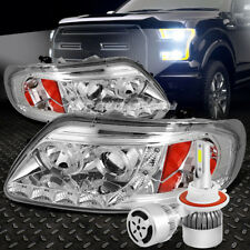 CHROME AMBER HALO PROJECTOR 1PC HEADLIGHT+WHITE LED H3 HID W/FAN FOR 97-03 F150