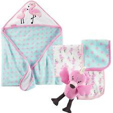 NWT 5 Piece Lot Carter's Baby Girl Flamingo Bath Set Hooded Towel Washcloths Toy