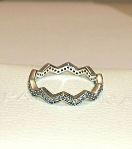 PANDORA SHIMMERING ZIGZAG RING , 197751CZ, S925 ALE STERLING SILVER,