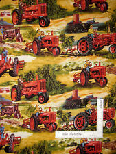 International Harvester Farmall Tractor Riding Farmers Cotton Fabric By The Yard