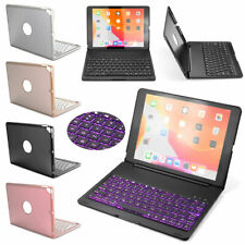 For iPad 7th Gen 10.2 2019 Keyboard Case 7 Colors Backlit Keyboard w/Smart Cover