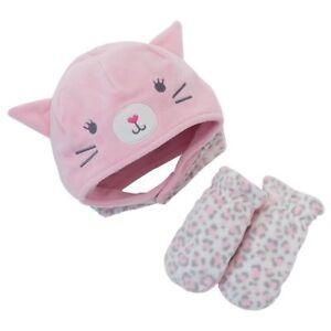 Jumping Beans Pink Kitten Hat & Mitten Set Soft Microfleece Fits 2T - 4T NWT