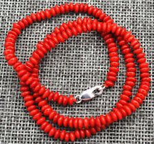 "2x4mm Natural Red Coral Abacus Gems Necklace 18"" Silver Clasp AAA"
