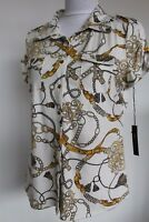 BCBG Maxazria Shirt Blouse Button Down Short Sleeve Buckle Print Size L Petite