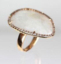 14k Rose Gold Moonstone & Diamond Ring ( Dia 0.44cts, MS 15.3cts)