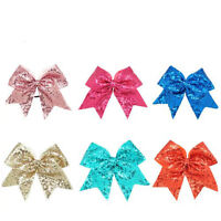 8inch Large Sequin Cheer Bow Boutique Girls Ribbon Cheerleading Ponytail Holder