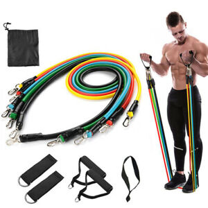 11PC Resistance Bands Rubber Workout Fitness Gym Yoga Equipment  home sports