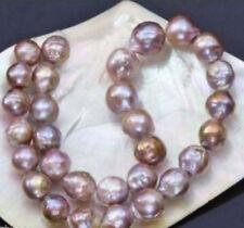 Huge 14-16mm natural south seas pink purple kasumi pearl necklace 18'' 14K JN900