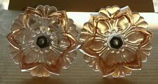 Matched pair of beautiful pink Glass flower curtain tiebacks. (B)