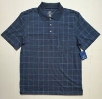 George Mens NAVY Windowpane Jersey Polo S/S Work Golf Button Shirt S M  NWT