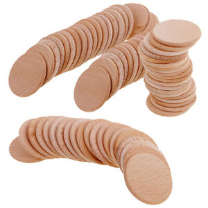 70x Natural Blank Plain Round Wood Slices Discs for Art Craft Engraving 36mm