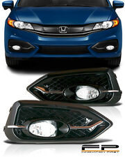 For 14-15 CIVIC COUPE 2DR BUMPER FOG LIGHTS LAMPS KIT CLEAR W/ SWITCH HARNESS