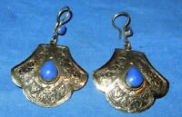 Earrings Teardrop Lapis or Malachite Afghan Kuchi Tribal Alpaca Silver 2""