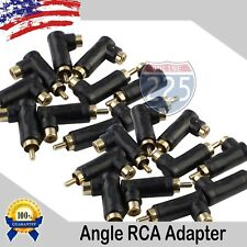 20 Pack Gold-Plated RCA Long Right Angle Adapters Male to Female 90° Angle USA
