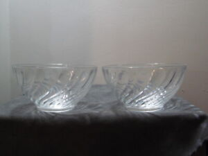 """Set of2 Arcoroc France 5"""" Clear Crystal Glass Swirl Tall Cereal/Soup/Salad Bowls"""