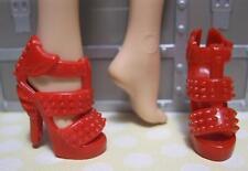 Barbie Doll Model Muse DARK RED OT RUFFLE STUD SPIKE High Heel Dress Shoes