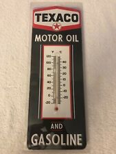 TEXACO Motor Oil and Gasoline Thermometer embossed metal SignTexas Compstar