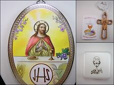 "1st Communion Jesus 6x4"" Plaque Rosary Box, Etched Wood Cross Primera Comunión"