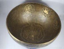 "12""Special Tibetan Chakra Carving Singing Bowl, Beaten Hammered Nepal Yoga Bowls"