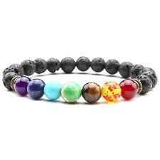 1pc Unisex Gemstone Lava Rock Stone Spacer Healing Bead Bangle Bracelet Gift New
