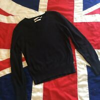 WOMENS TOMMY HILFIGER BLACK V NECK JUMPER LARGE