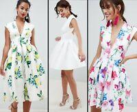 ASOS™ DESIGN $113 Scuba Seamed Open Back Midi Dress - Lemon/Botanical/White