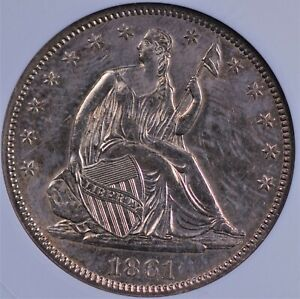 1861 SEATED LIBERTY HALF SMALL WHITE ANACS AU 55 SHIMMERING WHITE GOLD OVERLAY